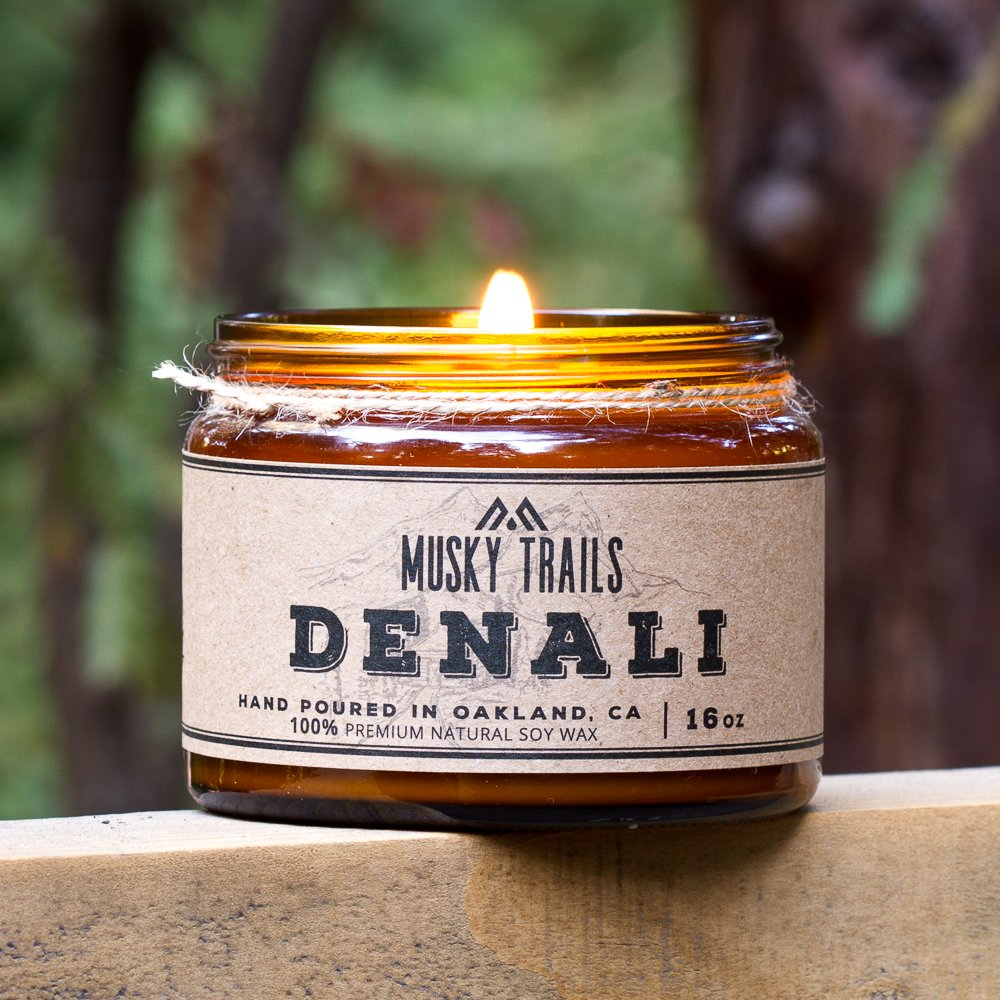 denali national park candle 16oz amber jar lit nature bg