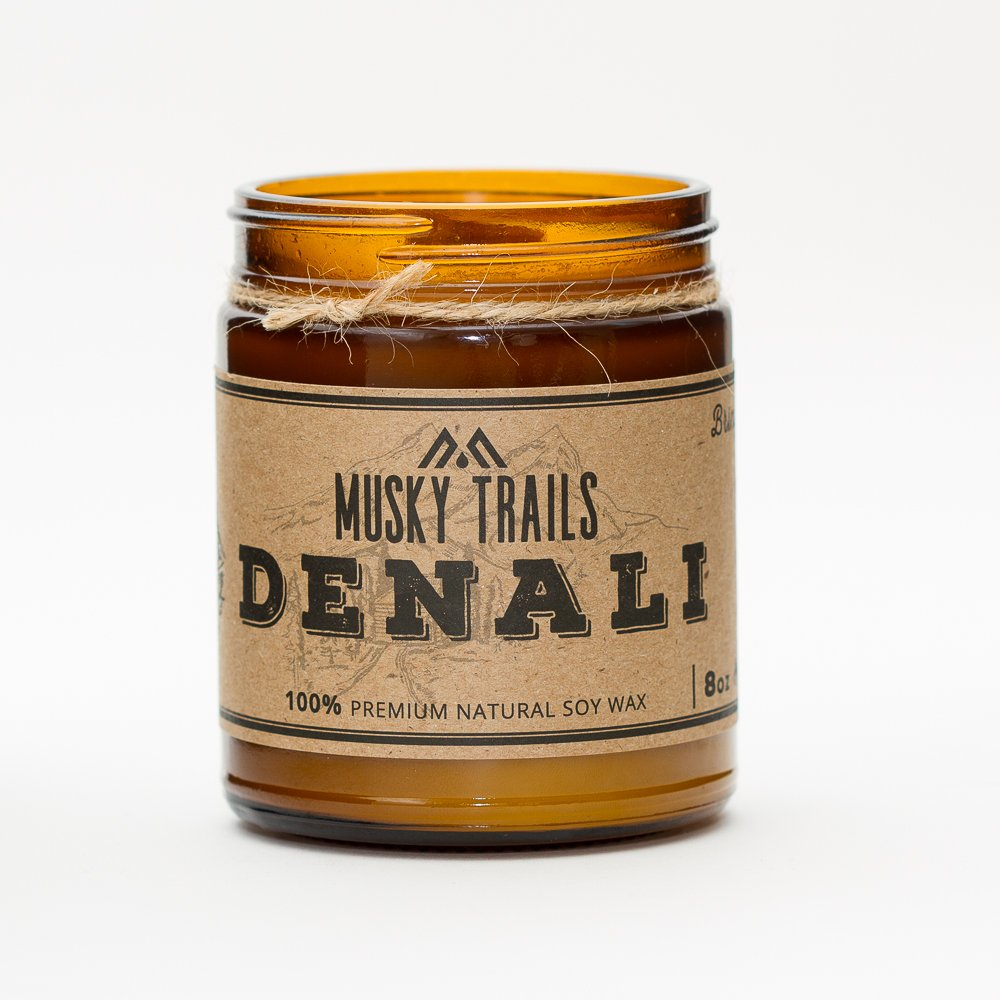 denali national park candle 8oz amber jar