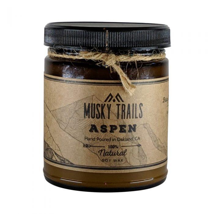 aspen apothecary candle 8oz amber jar lid