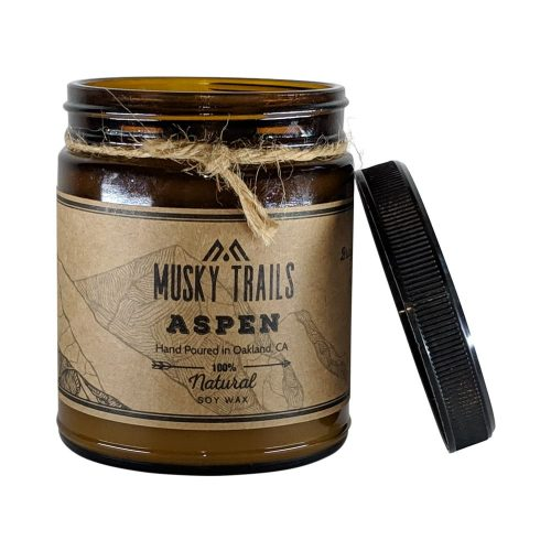 aspen apothecary candle 8oz amber jar lid off