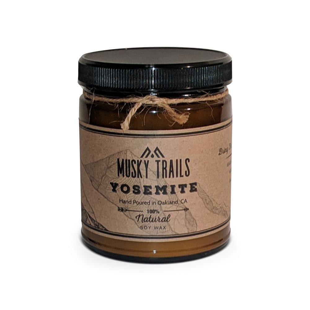 yosemite national park candle 8oz amber jar lid
