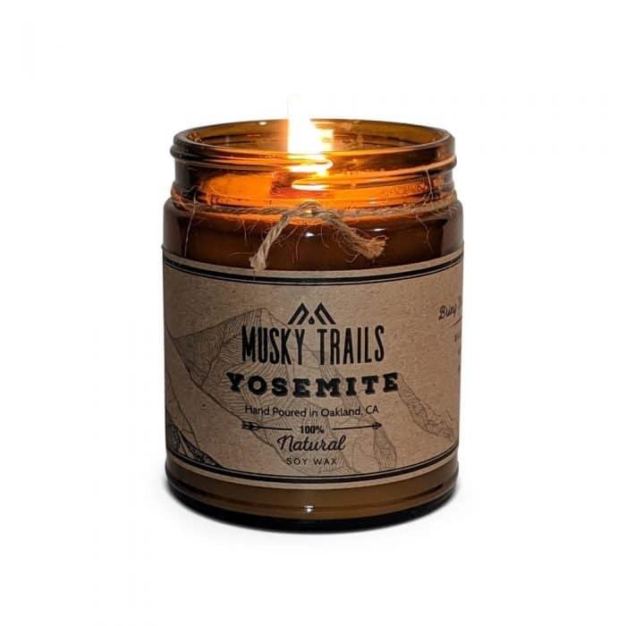 yosemite national park candle 8oz amber jar lit